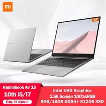 Xiaomi RedmiBook Air da 13.3 pollici Del Computer Portatile Notebook Intel UHD Grafica GPU Core i5-10210Y/i7-10510Y Processore 8G/16G di RAM SSD DA 512GB