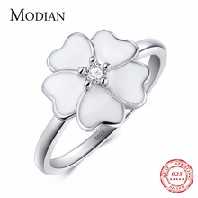 Modian 100% Real 925 sterling silver White Enamel Jewelry Fashion Zirconia Rings Feminine Flower Primrose Stackable Finger Ring(China)