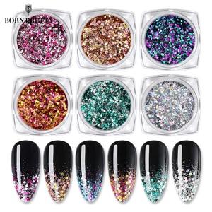 BORN PRETTY Nail Glittery Sequins Nail Power AB Gradient Nail Art Glitter Flakies Shining Nail Art Decoration Accessories 1g