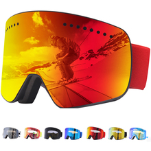 Jiepolly מגנט סקי Goggle חורף שלג ספורט סנובורד משקפיים אנטי ערפל UV הגנת Snowmobile כדורי סקי Eyewear FJ037