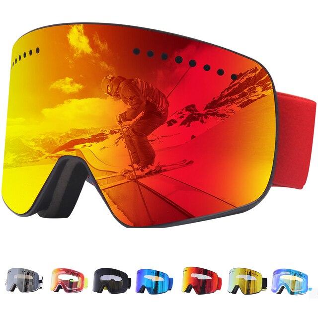 Jiepolly magnes gogle narciarskie sporty zimowe zimowe okulary snowboardowe Anti Fog ochrona UV skuter kulisty okulary narciarskie FJ037