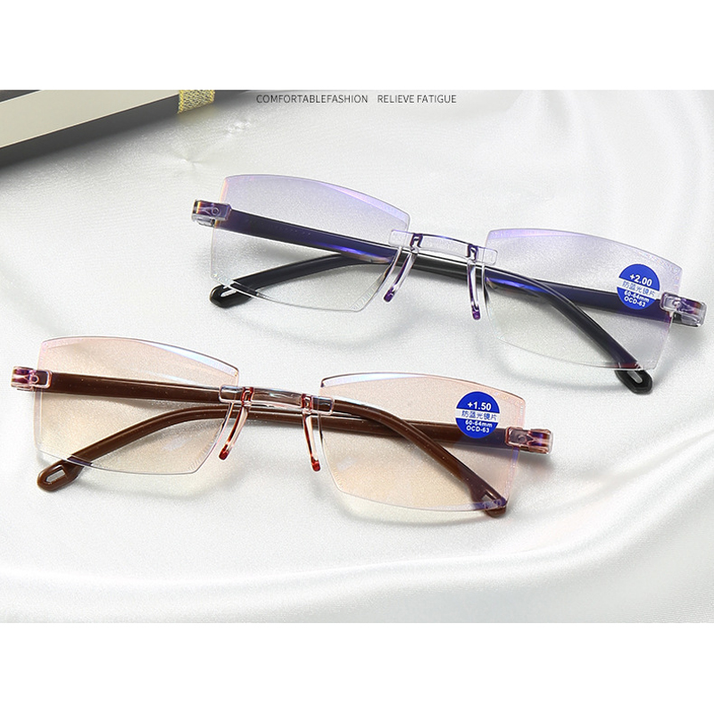 Zilead Reading Glasses Men Anti Blue Rays Presbyopia Eyeglasses Antifatigue Computer Frameless with +1.5+2.0 +2.5 +3.0 +3.5 +4.0 Eye Sight Glasses Goggles Home, Pets and Appliances 7fbb8c2a551aaaea0fd30c: +100|+150|+200|+250|+300|+350|+400|0