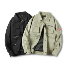 YUECHEN Autumn And Winter New Mens Clothing Jacket Single-breasted Multi-pocket Decorative Lapel Solid Color M-2XL