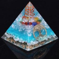 Orgone Pyramid Tree Of Life Amazonite Resin Jewelry 7 Chakra Crystal Decoration Faith Creativity Pyramid Energy Generator