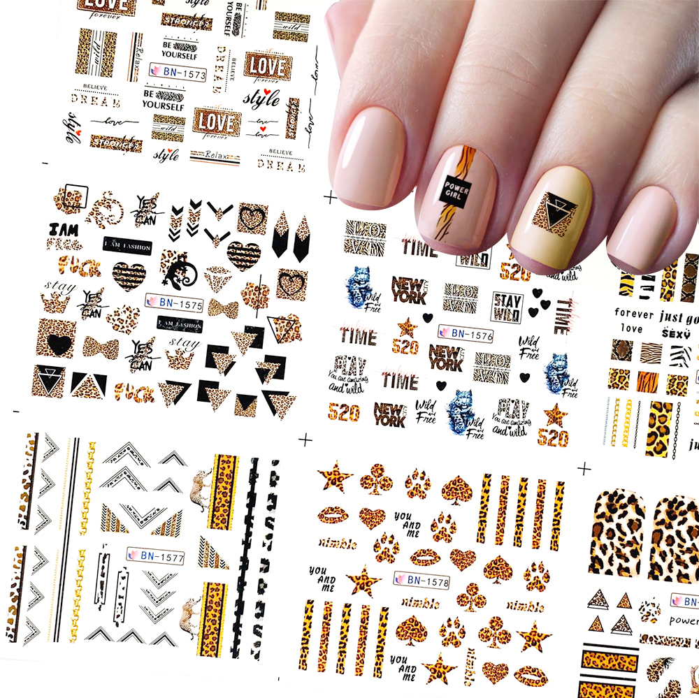 12 Pcs Nail Art Stickers Leopard Series Water Transfer Decals Set Slider Tattoo Foil Beauty DIY Nail Art Decorations BN1573-1584