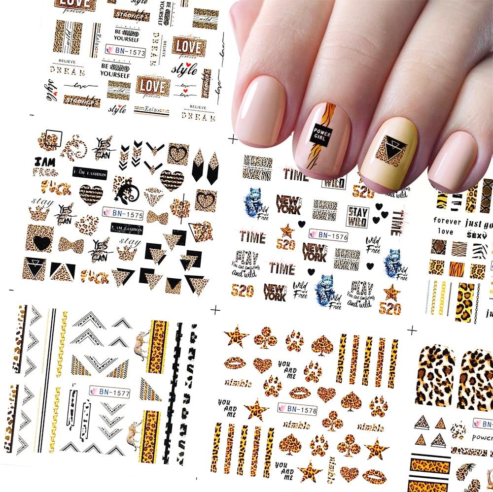 12 Pcs Nail Art Stickers Leopard Series Water Transfer Decals Set Slider Tattoo Foil Beauty DIY Nail Art Decorations BN1573-1584