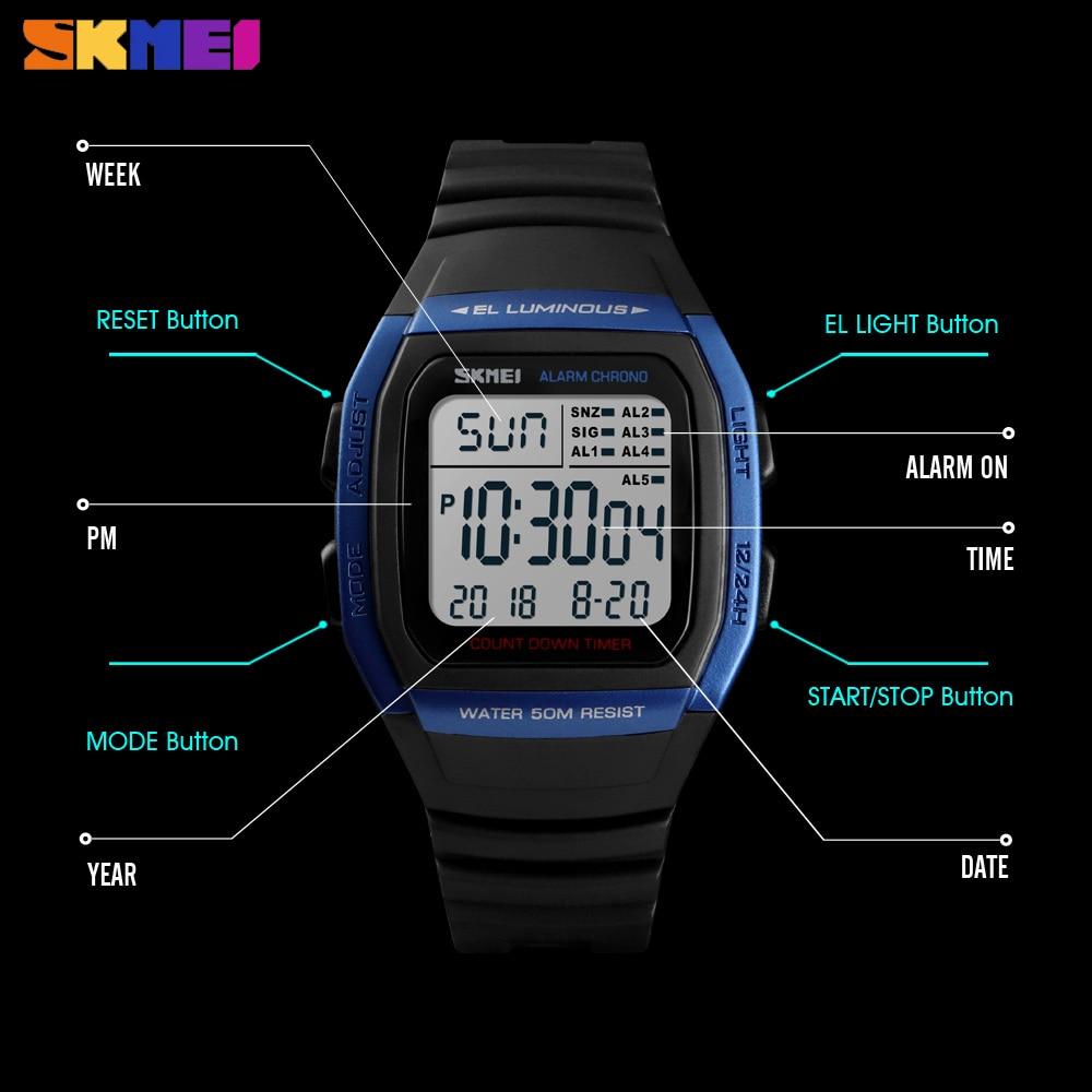SKMEI New Fashion Digital Electronic Men Watches Sport Waterproof Alarm Wristwatch Military Chronograph Clock Relogio Masculino