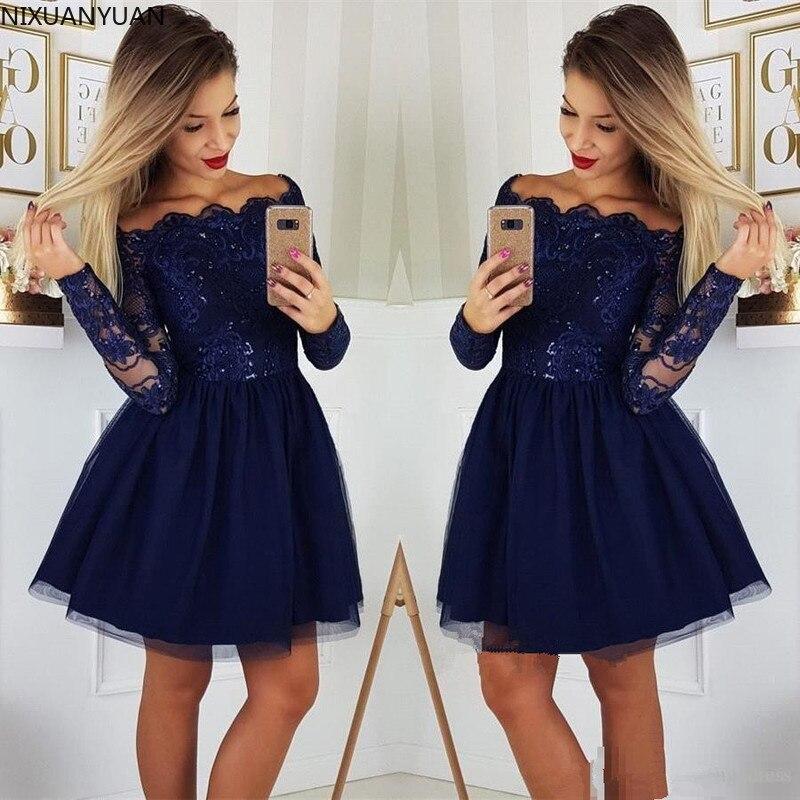 Long Sleeves Lace A-Line Homecoming Dresses Tulle Applique Short Prom Dresses Cocktail Party Dresses Vestidos De Festa