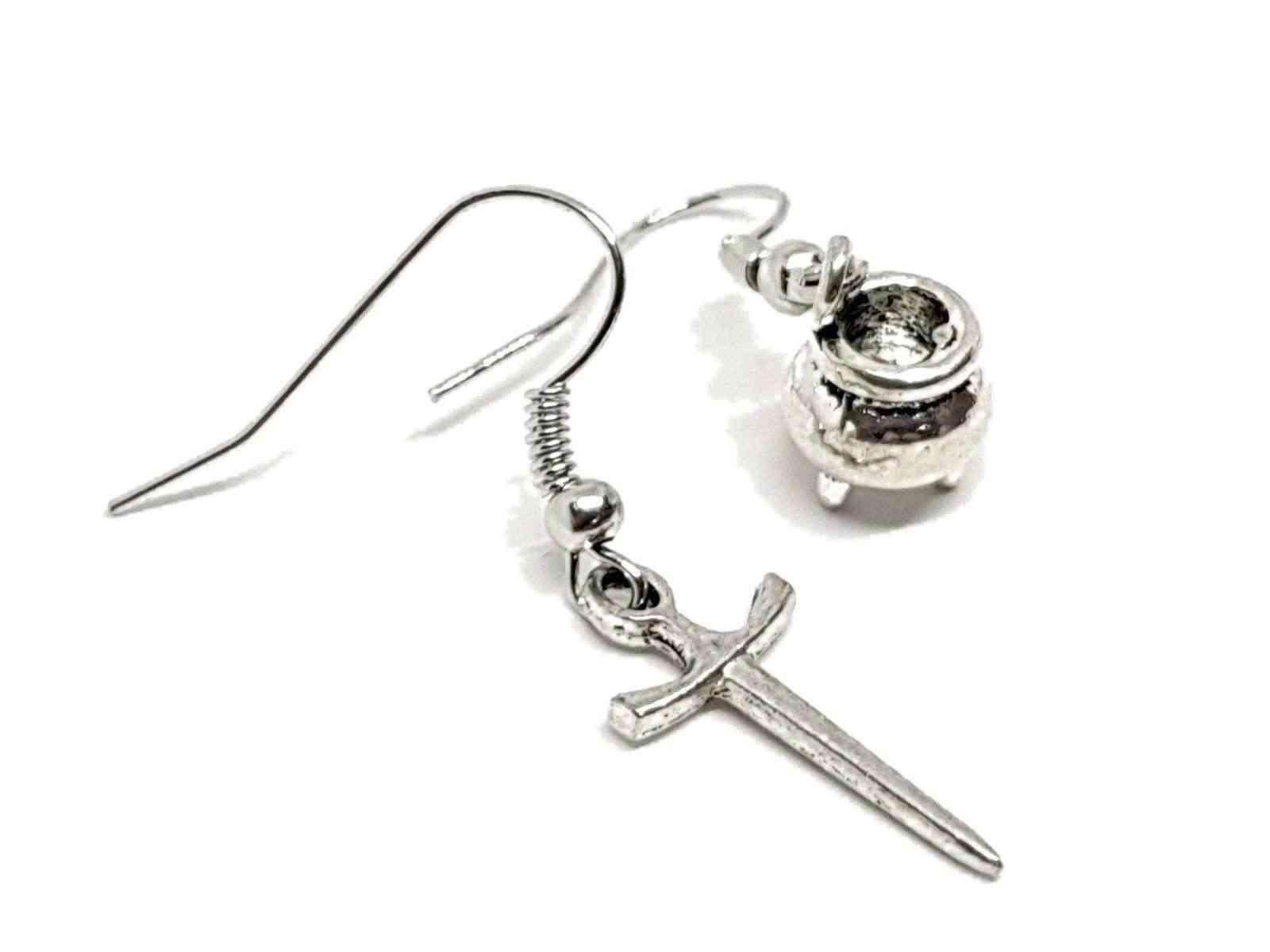 Cauldron Athame Dagger Earrings Drop Dangle Hook Earrings Pagan Witch Boho