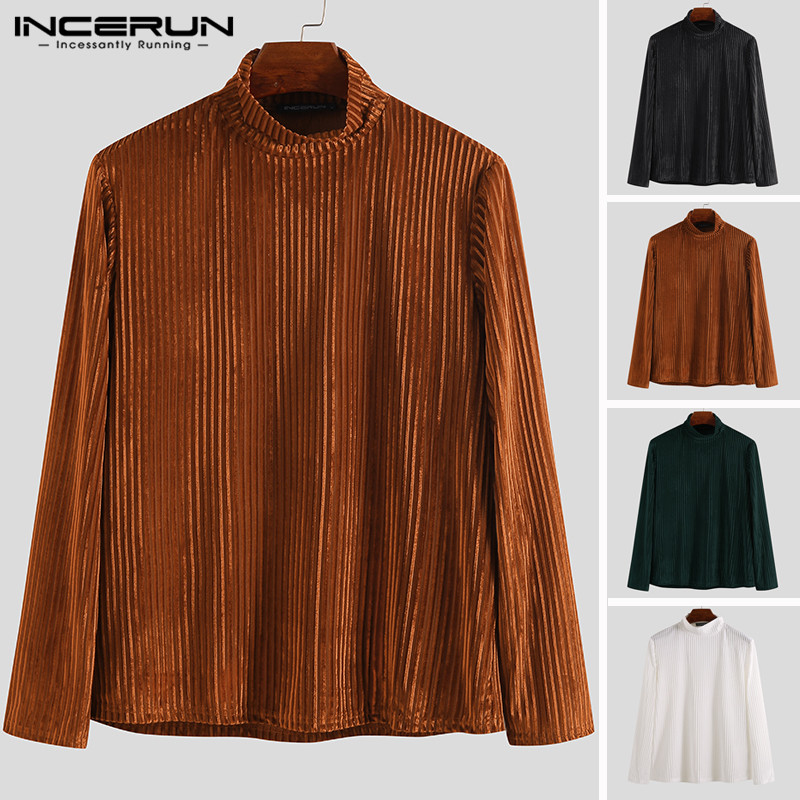 INCERUN 2019 Men T Shirts Turtleneck Velvets Plain Autumn Warm Underwear Tops Slim Fit Fashion Long Sleeve Casual T-shirts Men