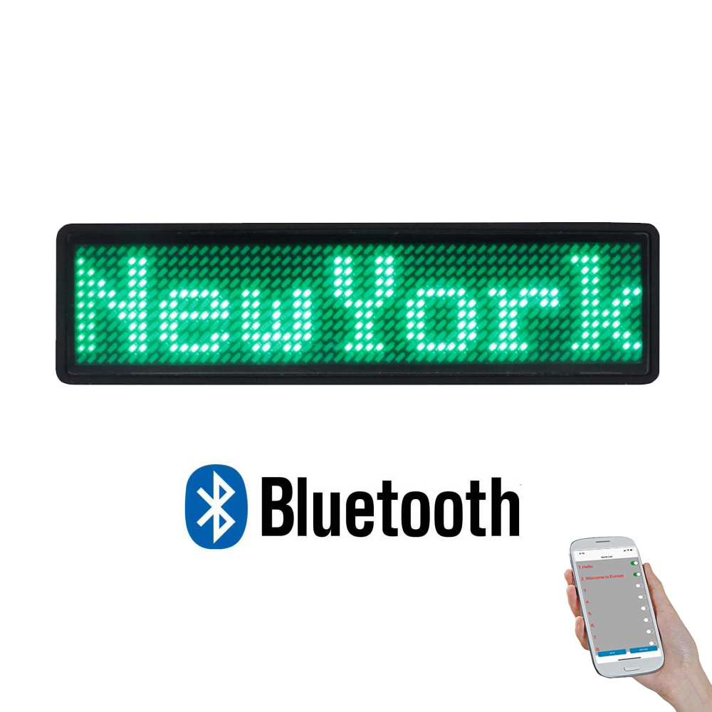 Multi-language LED Badge Bluetooth Programmable Advertising LED Light Mini LED Display 7 Colors Adjustable Brightness LED Badge