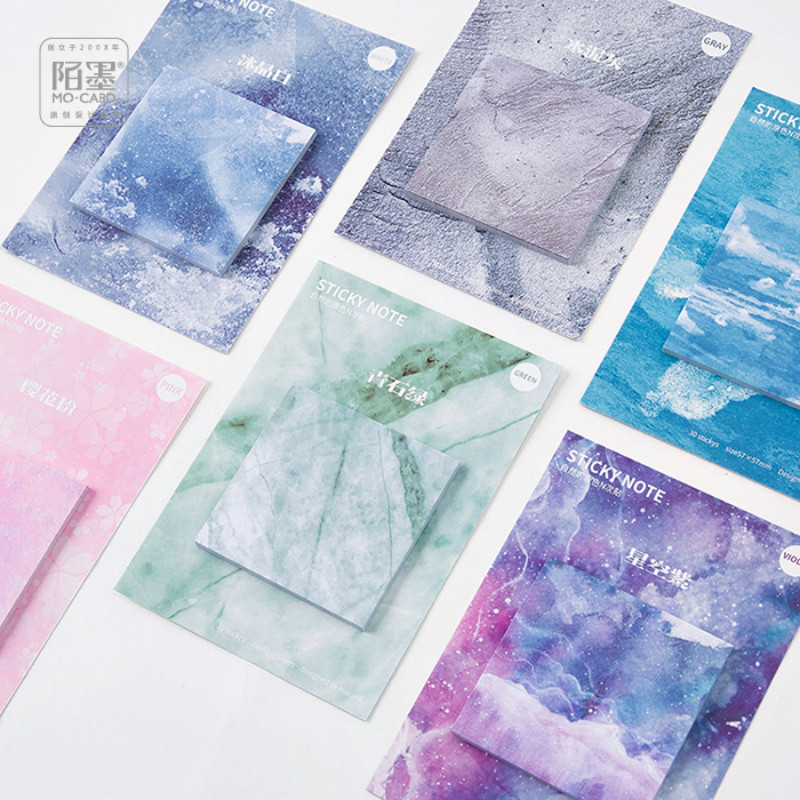 30Pcs/set Creative Post-it Notes Sky Blue Star Marble Message Sticker Student Stationery School Supply Back To School Paper Memo