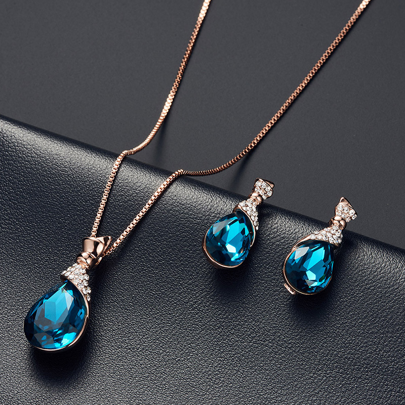 2019 New Cubic Zirconia Brindal Jewelry Set For Women Rhinestone Oval Earrings Pendant Necklace Woman Wedding Party Jewelry Gift