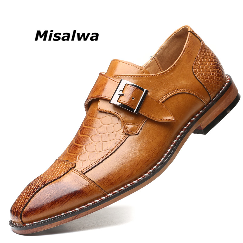 Misalwa  Top Quality Men's Welted Single Monk Strap Dress Shoes Handmade Imported Leather Busines Office Formal Shoes Plus Size