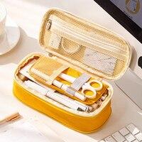 Color de macarrón de lona estirable de doble capa de gran capacidad lápiz caja Kawaii lápiz caso lindo Pencilcase niños escuela papelería