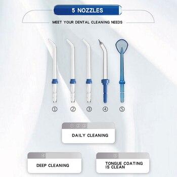 Waterpulse V300G Oral Irrigator 5pcs เคล็ดลับทันตกรรมไฟฟ้า Flosser น้ำ 800ml Oral Hygiene ทันตกรรม Flosser Flossing V300