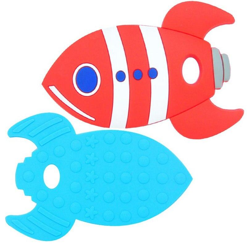 5PCS Silicone Big Rocket Fish Teether Baby Teething Toys BPA Free Food Grade Silicone Teether DIY Teething Necklace Toy