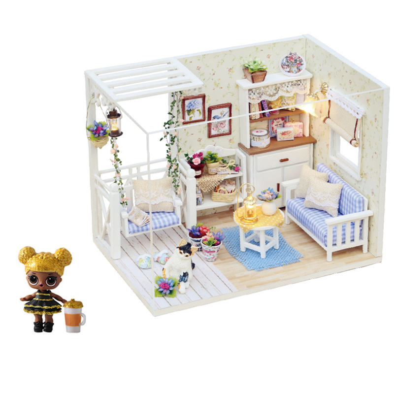 lol Surprise Doll House Toy <font><b>Furniture</b></font> Diy <font><b>Miniature</b></font> 3D Wooden Miniaturas Model Dollhouse Toys for Children Action figure Gifts image