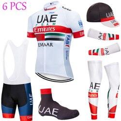 Zespołu nowy zjednoczone emiraty arabskie jazda na rowerze JERSEY 20D spodenki rowerowe w pełnym kolorze Ropa Ciclismo szybkie suche jazda na rowerze nosić Maillot rękawy podgrzewacze w Zestawy rowerowe od Sport i rozrywka na