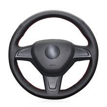 For Skoda Yeti 2014 Car hand-sewn steering wheel cover black artificial leather for chrysler 300c 200 car steering wheel cover black artificial leather antiskid