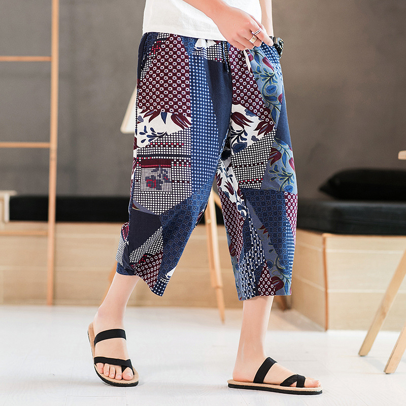 2019 Summer Chinese-style Men's Floral Pants Harem Pants Baggy Pants Hanging-Backed Capri Pants Large Size Youth Loose-Fit With
