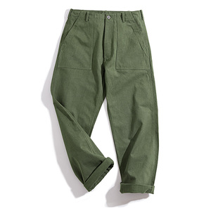 Image 3 - Maden Mens Green Army Pants Overalls Rectangular Straight Casual Pants Retro Vintage Men New Style Cotton