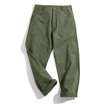 Maden Men\'s Green Army Pants Overalls Rectangular Straight Casual Pants Retro Vintage Men New Style Cotton