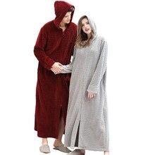 คู่ฤดูหนาว PLUS ขนาดยาว WARM Flannel เสื้อคลุมอาบน้ำเจ้าสาวเสื้อคลุมอาบน้ำตั้งครรภ์ซิป Night Dressing Gown ชุดนอนชาย