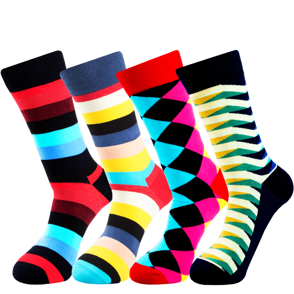Men's Socks Men's Winter Socks Colorful Combed Cotton Crew Socks Jacquard Stripes Knee High Socks Men's Business Casual Dress
