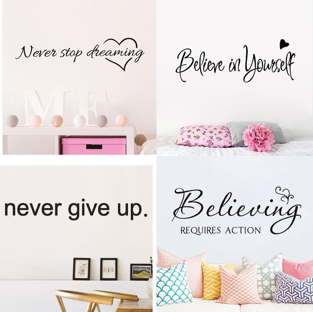 Motivational Quotes Sentences Phrases Wall Stickers Decals For Company Office School Living Room Removable Wallpaper home decor image