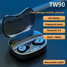 Tw90 tws fone de ouvido sem fio bluetooth 5.0 fones caixa carregamento mini estéreo esportes à prova dwaterproof água com microfone
