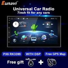 Eunavi Android 10 autoradio multimédia lecteur vidéo universel 7 pouces écran Audio stéréo unité de tête Navigation GPS 2 Din pas de DVD