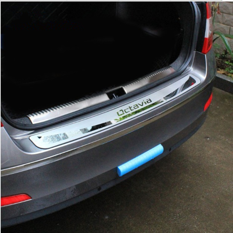 For Skoda Octavia A7 2015-2018 Sedan Car-Trunk Rear Bumper Guard Guard The Stying After Door Threshold Plate Car Accessories