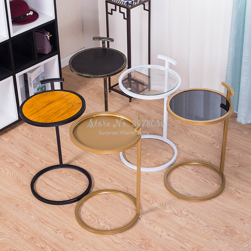 European-style Simple Small Side Table Iron Round Corner Table Wooden / Iron Desktop Living Room Table Coffee Table Tea Desk
