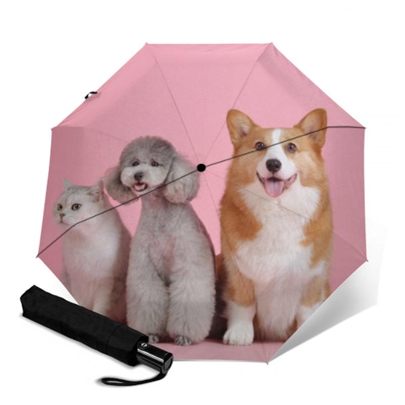 Custom Husky Dogs Compact Travel Windproof Rainproof Foldable Umbrella