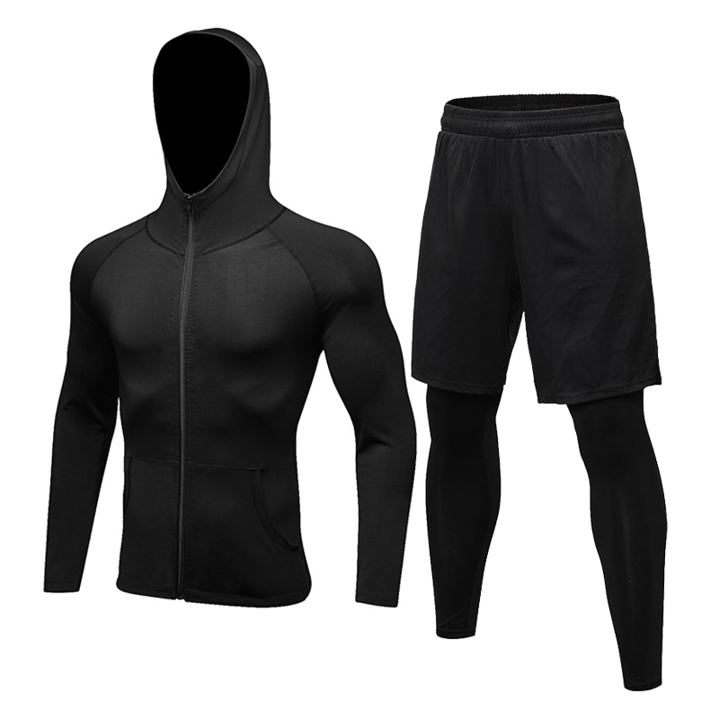 2Pcs/Set Men Autumn Sports Suit Gym Fitness Compression Clothes Running Jogging Sport Wear Workout Tracksuits Fake Tight Pants
