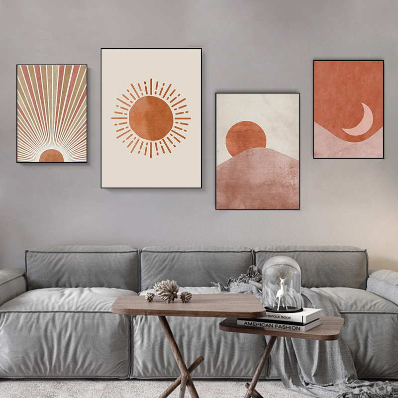 Абстрактная Минималистичная линия на холсте, настенная живопись с изображением Солнца и Луны в стиле бохо, декор для гостиной