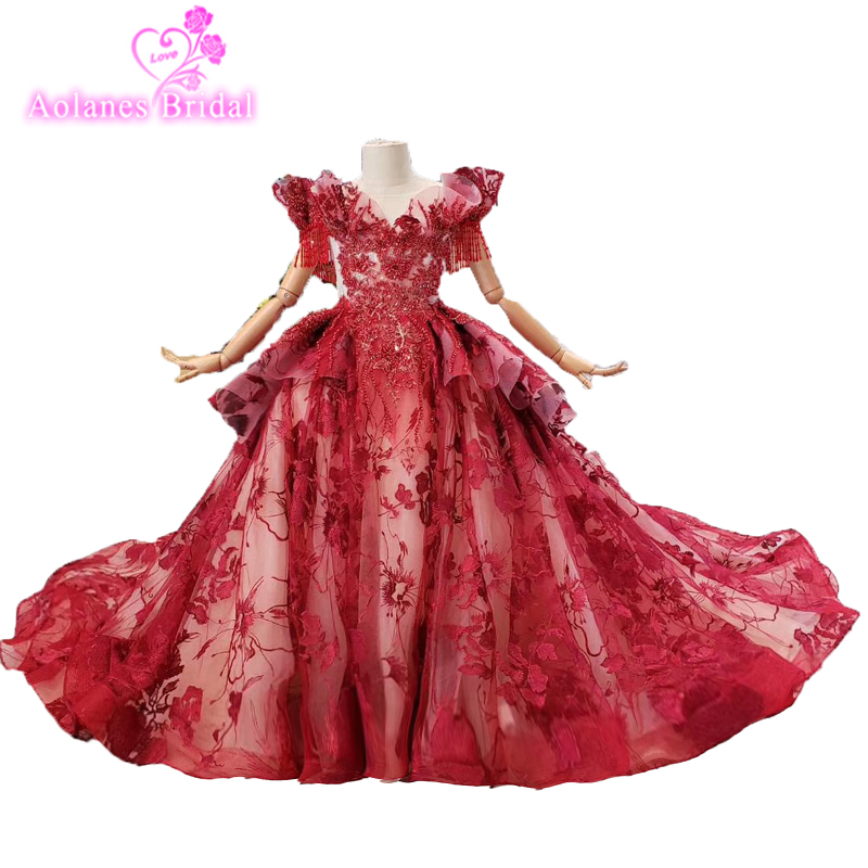 Custom Stunning Puffy Sleeves Flower Girls Dress Red Sheer Illusion Ball Gown Beading Crystal Party Flowers Girls Pageant Dress
