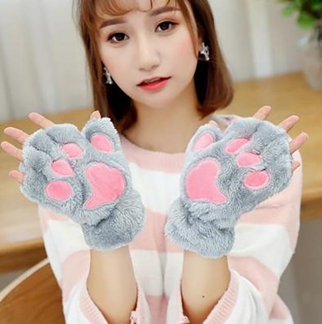 Women Bear Plush Cat Paw Claw Gloves Winter Faux Fur Cute Kitten Fingerless Mittens Gloves Christmas Halloween for Womens Girls 3