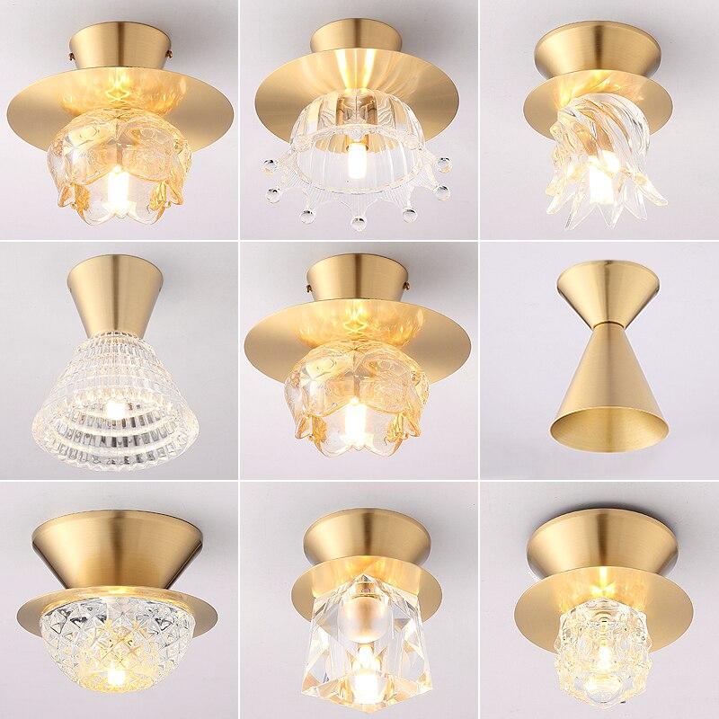 Nordic Crystal Led Ceiling Lighting Copper Lights Living Room Kitchen Loft bedroom Aisle Light