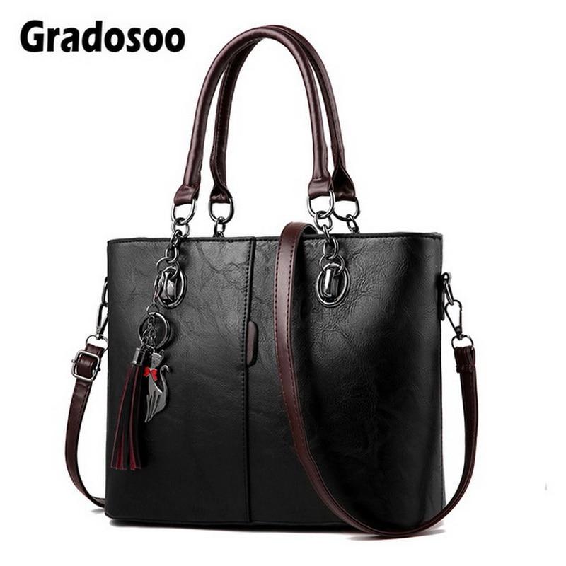 Gradosoo Vintage Tote Bag For Women Leather Handbag Large Capacity Shoulder Bag Women Top-Handle Bag Messenger Bag Female HMB647