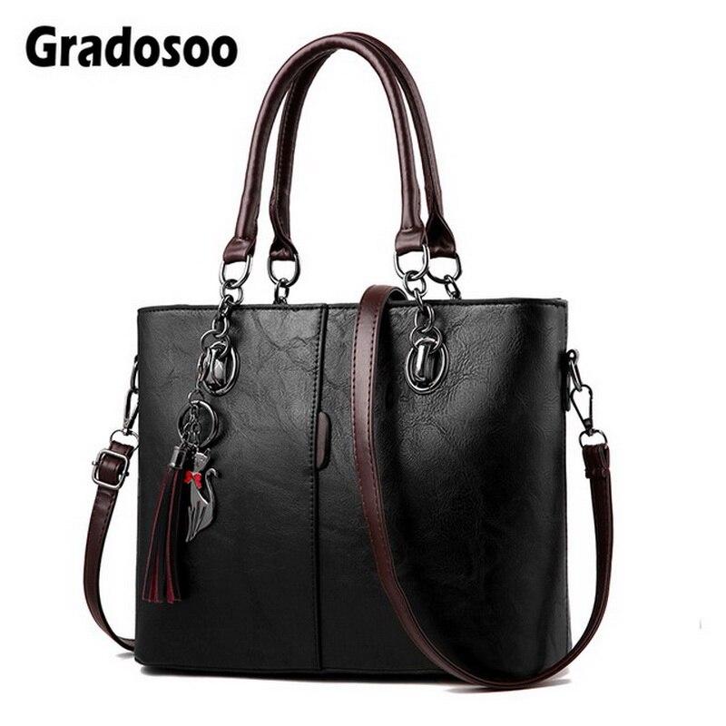 Gradosoo Vintage Tote Bag For Women Leather Handbag Large Capacity Shoulder Bag Women Top Handle Bag Messenger Bag Female HMB647-in Top-Handle Bags from Luggage & Bags