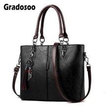Gradosoo Vintage Tote Bag For Women Leather Handbag Large Ca