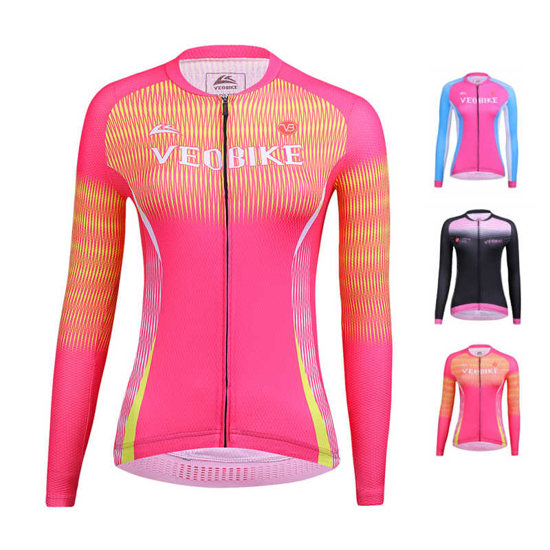 Multi-color Men Women Cycling Jersey Long Sleeve Shirt Breathable Full Zip Tops