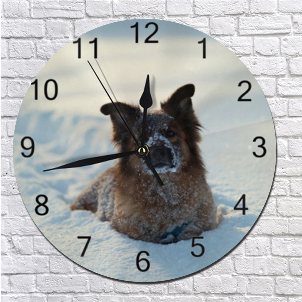 Round Pet Dog Animal Painting Wall Clocks Numeral Digital Dial Mute No Ticking Sound Battery Operated Clocks Home Decoration