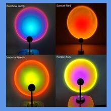 Светодиодный ночсветильник С закатом, проекционный Настольный светильник с красной радугой для спальни, бара, кафе, магазина, украшение для...