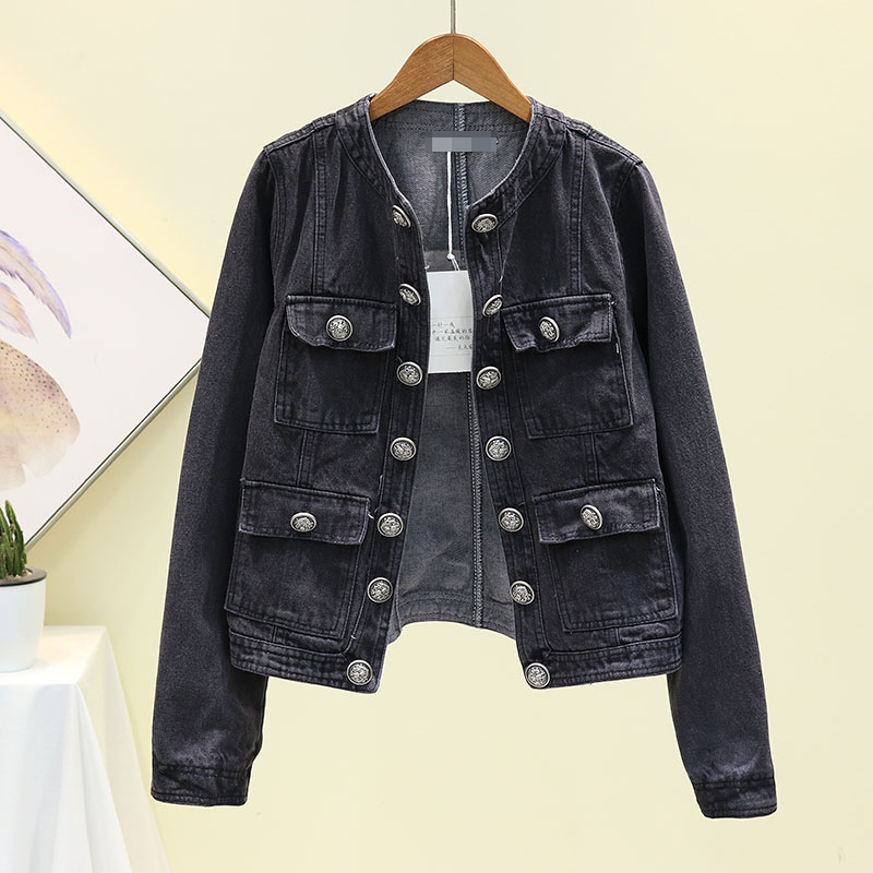 New Cowboy Coat Female 2019 Autumn Fashion Double-breasted Black Jean   Jacket   Womens Short Coats Students Slim Jeans   Basic     Jacket