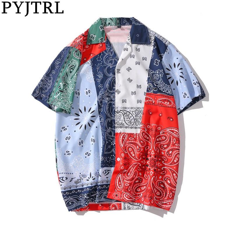 PYJTRL Men Streetwear Summer Short Sleeve Shirt