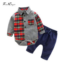 spring baby boys clothes suit infant newborn casual clothing sets long sleeve plaid rompers+pants 2pcs outfits bebes costumes(China)