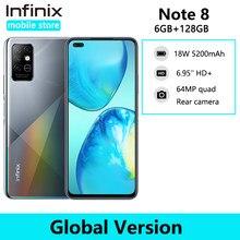 Infinix nota 8 6gb 128gb versão global telefone móvel 6.95 hd hd hd + display 5200mah bateria helicoidal g80 octa core 18w carga rápida